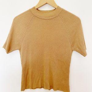 Vintage Camel Ribbed Short Sleeve Sweater Top SzM